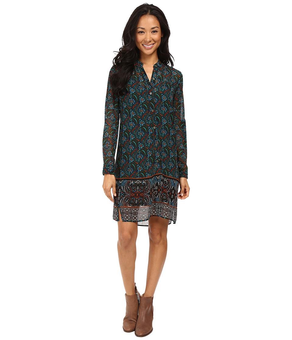 KUT from the Kloth - Long Sleeve Shirtdress (Teal) Women's Dress