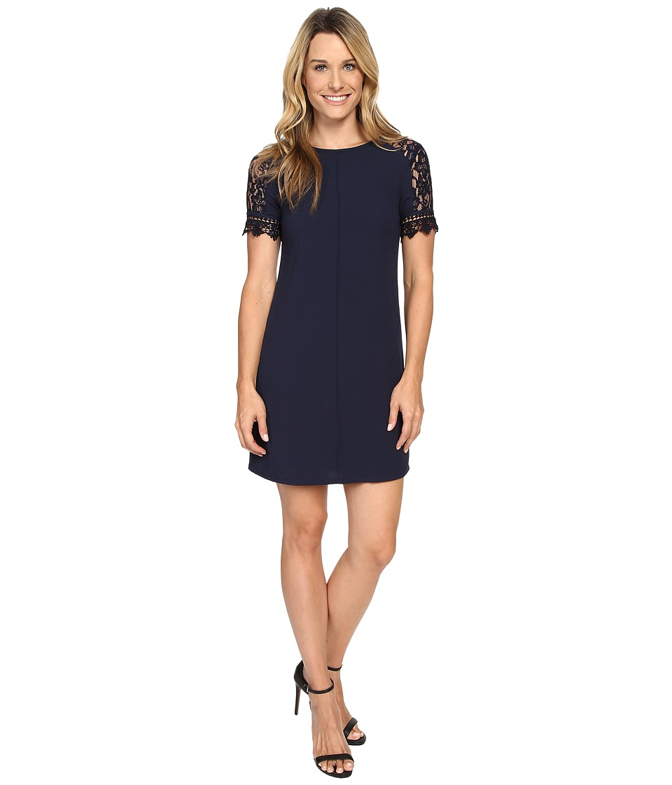 KUT from the Kloth - Mock Raglan Lace Sleeve Dress (Navy) Women's Dress