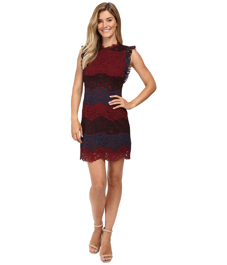 KUT from the Kloth Ruffle Sleeveless Shift Dress (Wine) Women
