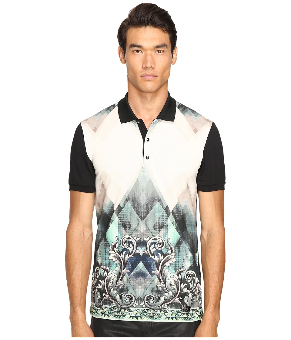 Versace Collection - Printed Polo (Aqua) Men's Clothing