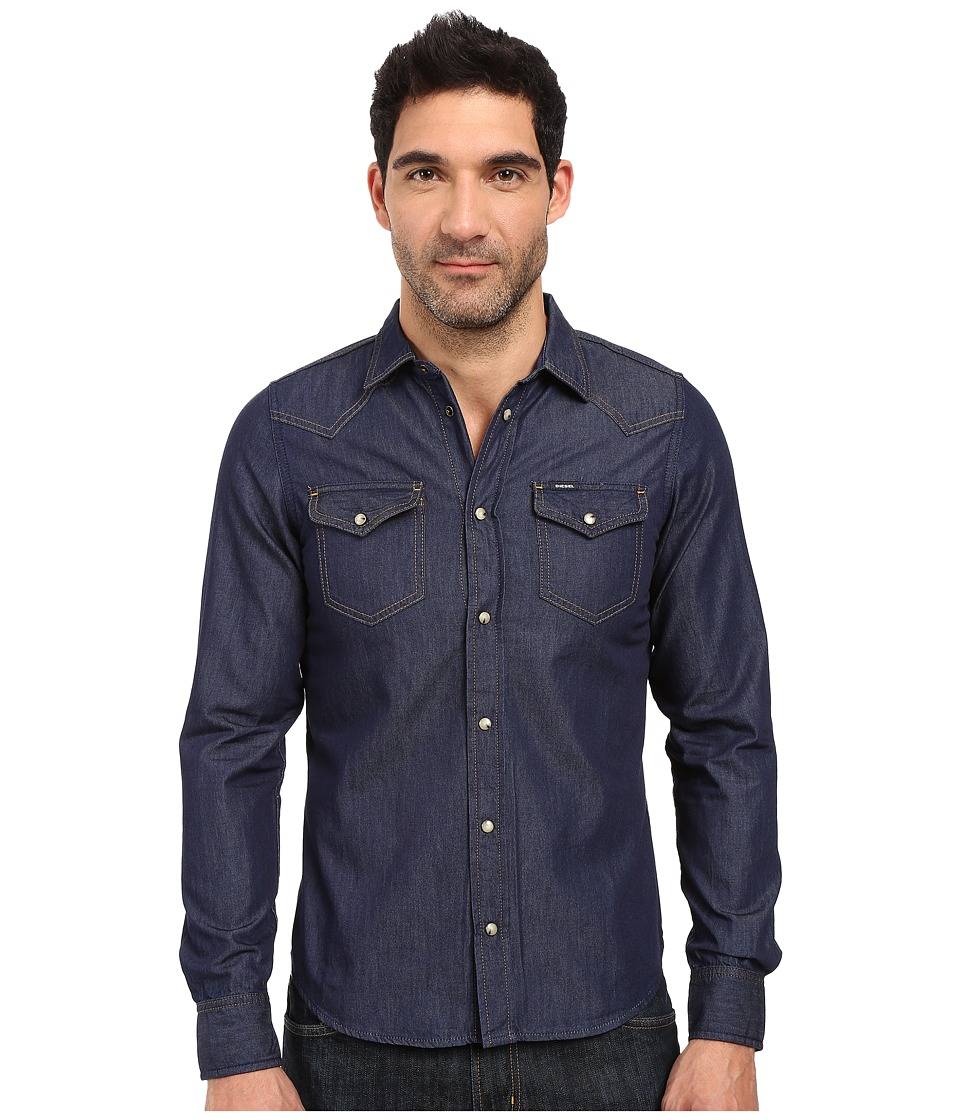 Diesel - New-Sonora-E Shirt (Denim) Men's Long Sleeve Button Up