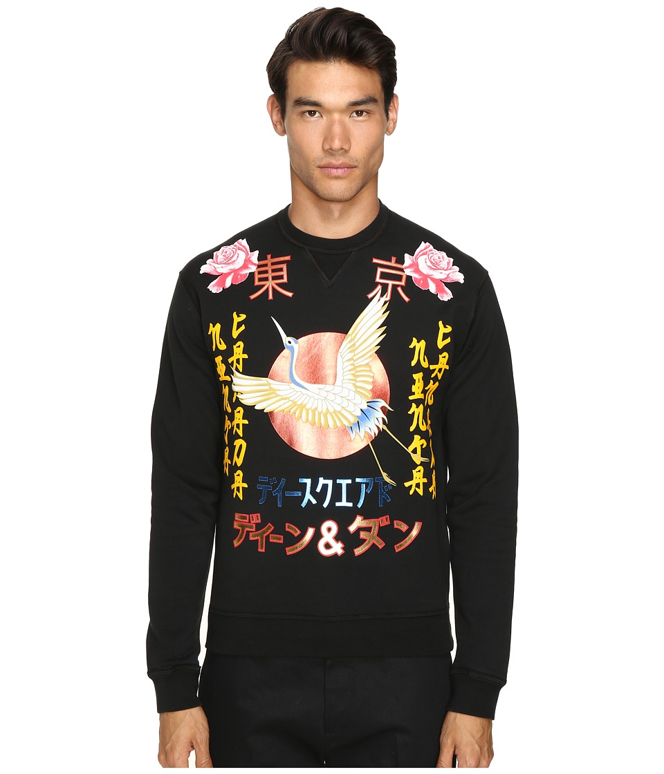 DSQUARED2 - Dean Fit Punk Manga Gang Sweatshirt (Black) Men's Sweatshirt