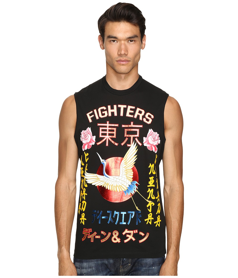 DSQUARED2 Long Cool Fit Punk Manga Gang Muscle Tee (Black) Men