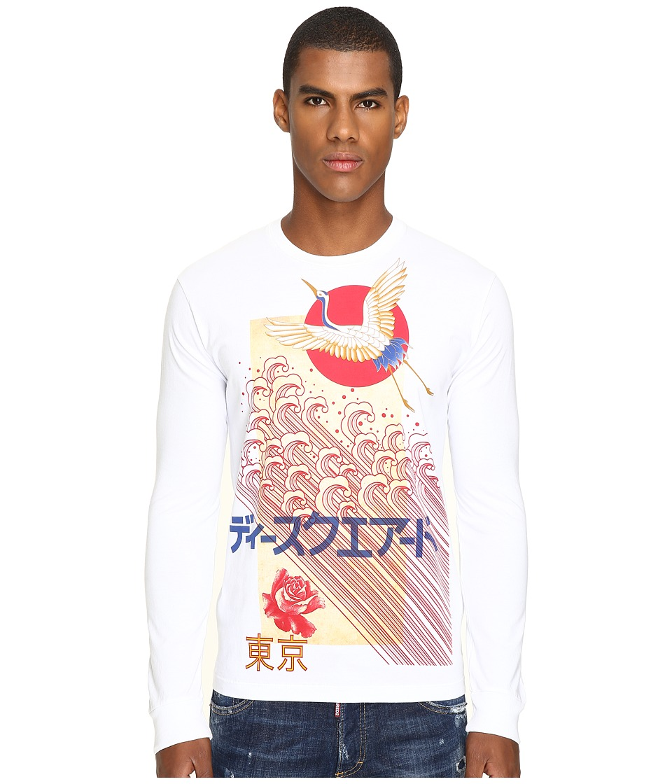 DSQUARED2 Chic Dan Fit Punk Manga Gang Slong Sleeve T-Shirt (White) Men