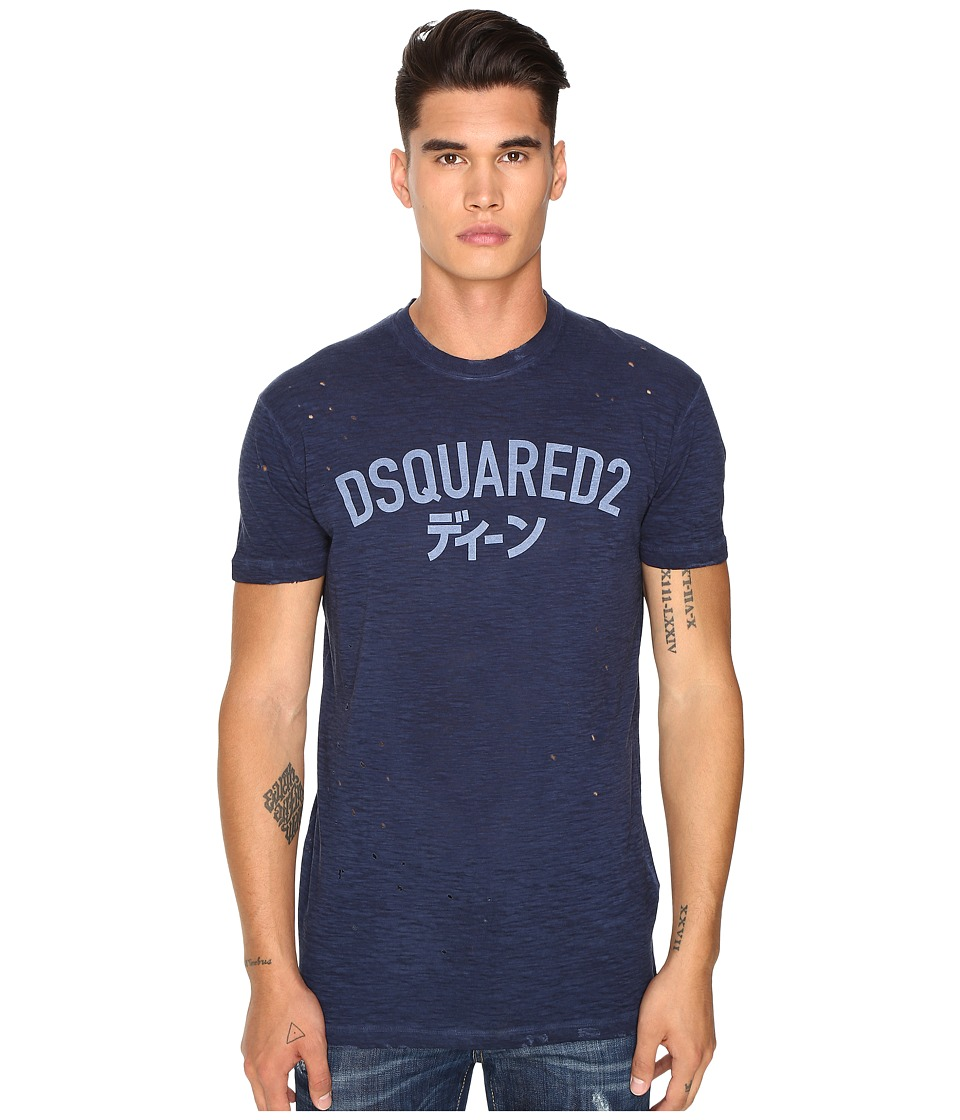 DSQUARED2 - Long Cool Fit Japanese Indigo T-Shirt (Blue) Men's T Shirt