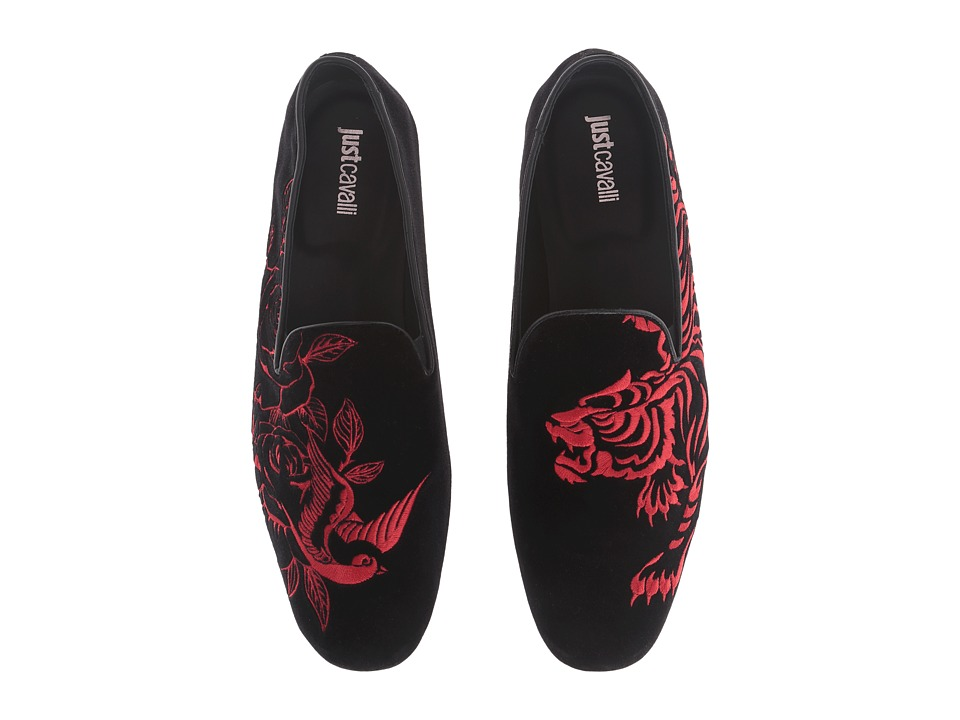 Just Cavalli - Velvet with Tattoo Embroidery Mocassin (Black) Men's Shoes