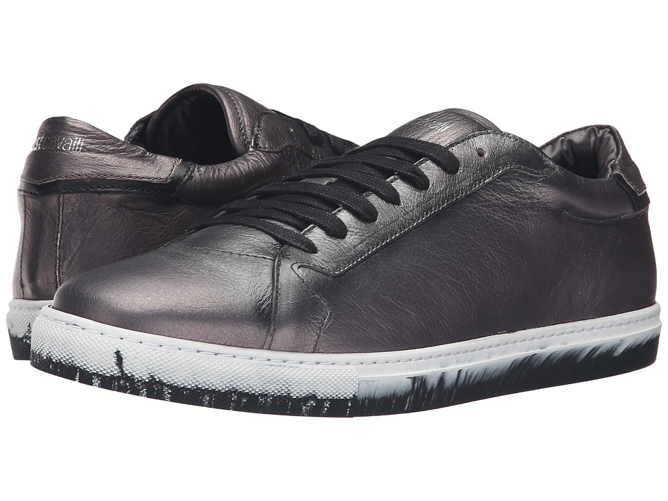 Just Cavalli - Matt Lame Leather Sneakers (Gargoyle) Men's Shoes