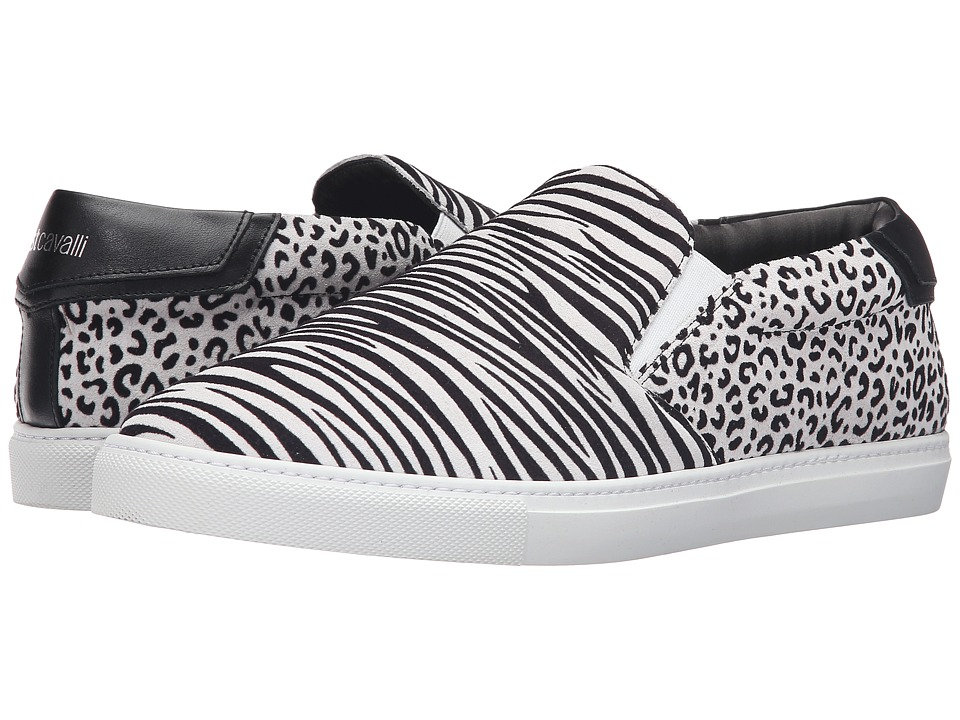 Just Cavalli Flock Zebra and Jaguar Leather Sneakers (White) Men