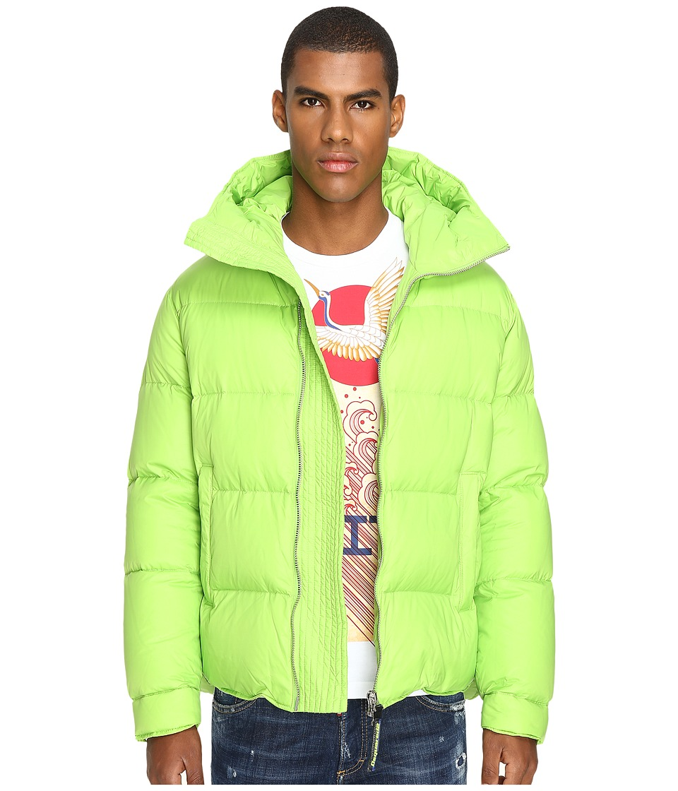 DSQUARED2 - Hooded Puff Bomber (Lime) Men's Coat