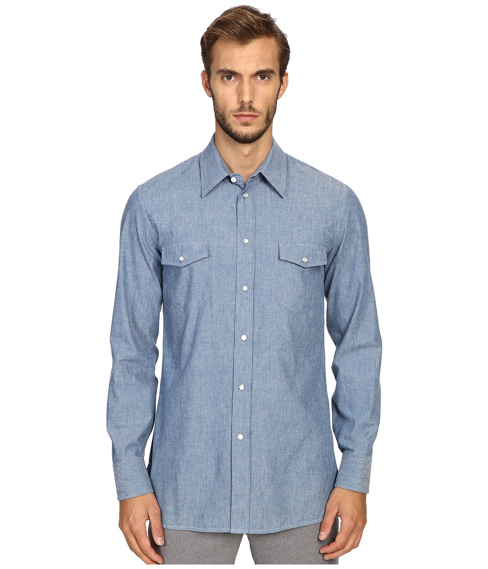 Marc Jacobs - Slim Fit Chambray Button Up (Blue) Men's Clothing