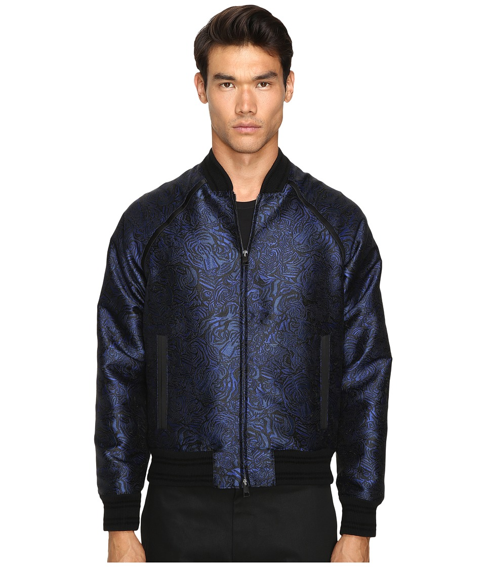 Just Cavalli - Woven Printed Sports Jacket (Blue/Black) Men's Jacket