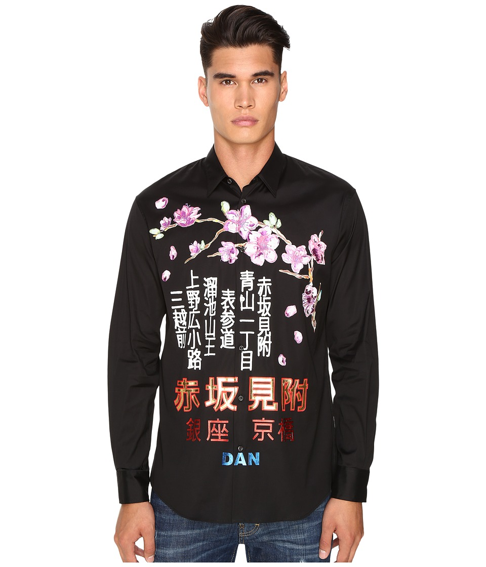DSQUARED2 - Tokyo Metro Flower Relaxed Dan Shirt (Black) Men's Clothing