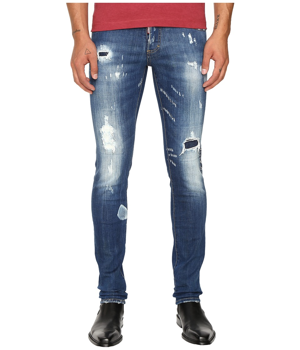 DSQUARED2 - Planked Patch Destroyed Slim Jeans (Blue) Men's Jeans