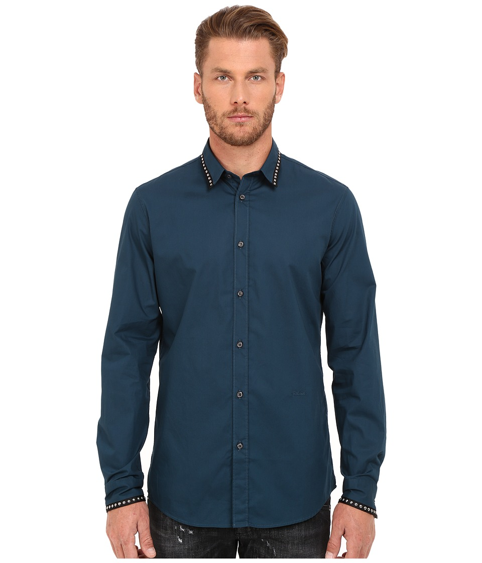 Just Cavalli - Slim Fit Stone Wash Woven Shirt (Orion Blue) Men's Clothing