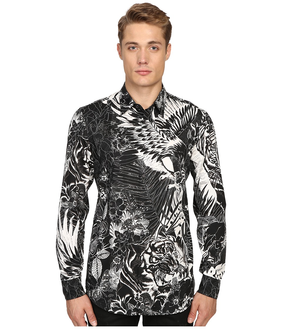 Just Cavalli - Jungle Tattoo Print Shirt (Black Variant) Men's Clothing