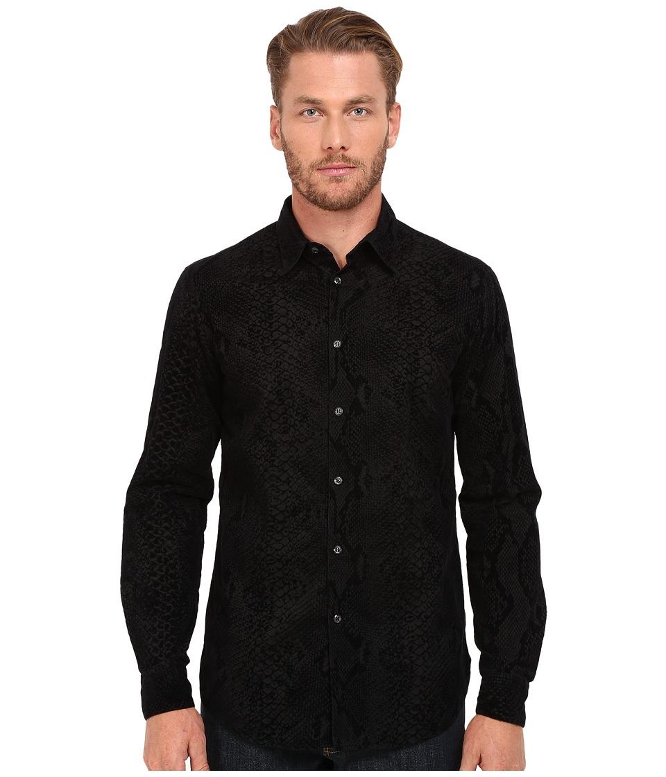 Just Cavalli - Regular Fit Reptile Print Shirt (Black Variant) Men's Clothing
