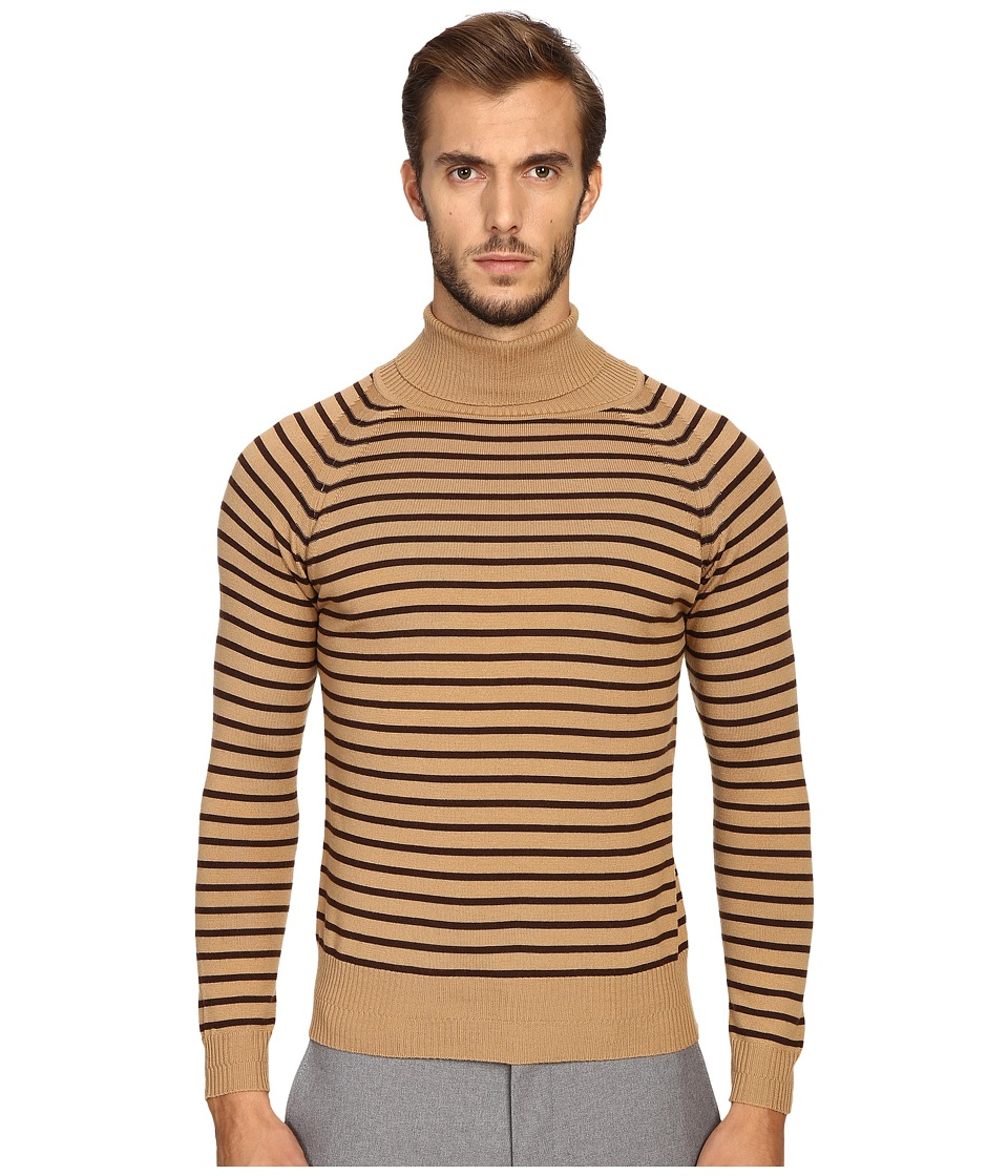 Marc Jacobs - Stevie Stripe Turtleneck Sweater (Camel Brown) Men's Sweater