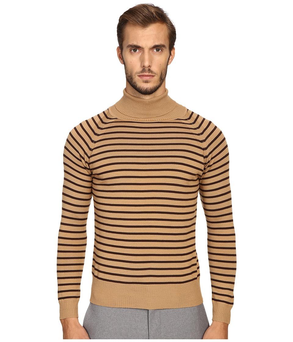 Marc Jacobs - Stevie Stripe Turtleneck Sweater (Camel Brown) Men's Sweater