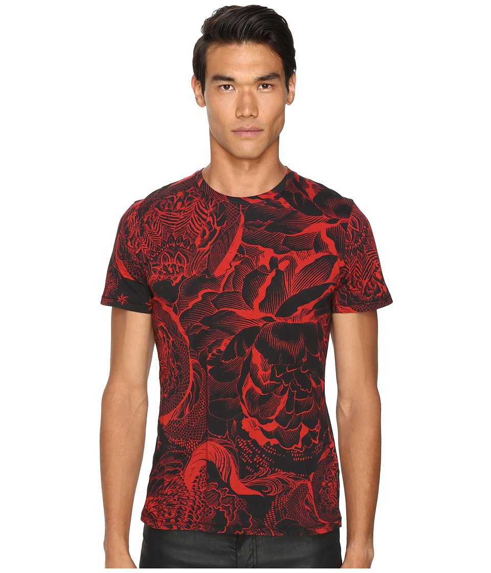 Just Cavalli - Slim Fit Rock Romance Printed T-Shirt (True Red Variant) Men's T Shirt