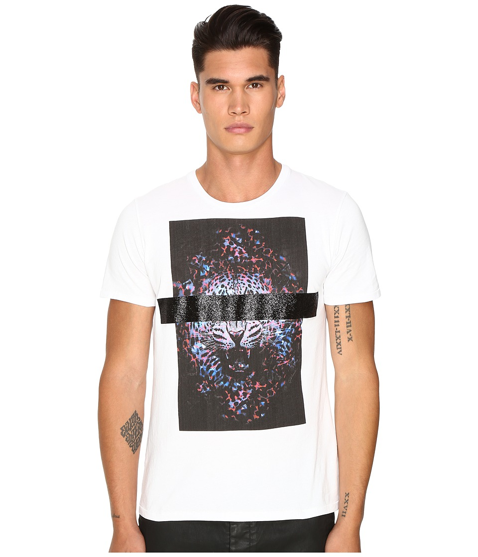 Just Cavalli - Slim Fit Tiger Jersey T-Shirt (White) Men's T Shirt