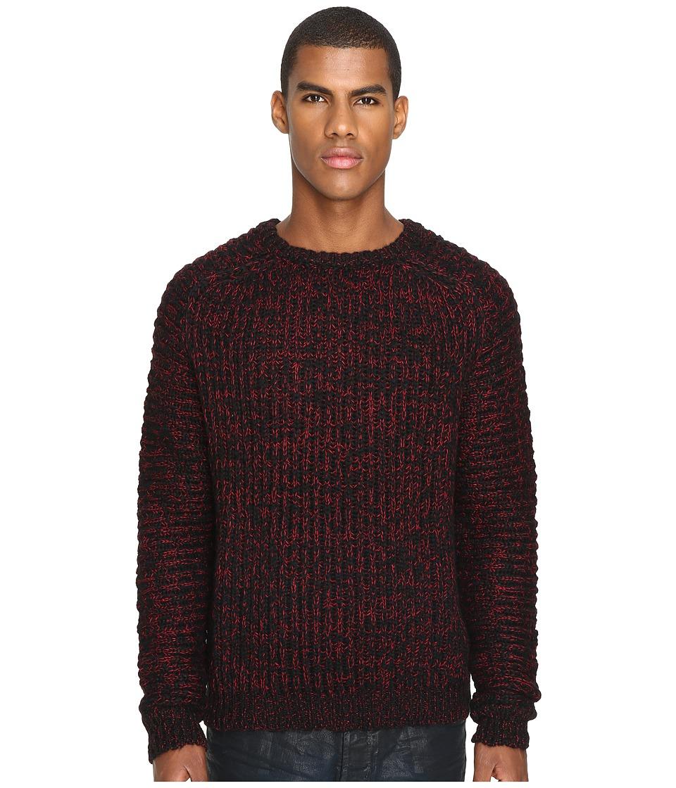 Just Cavalli - Wool/Alpaca Sweater (Black/True Red) Men's Sweater