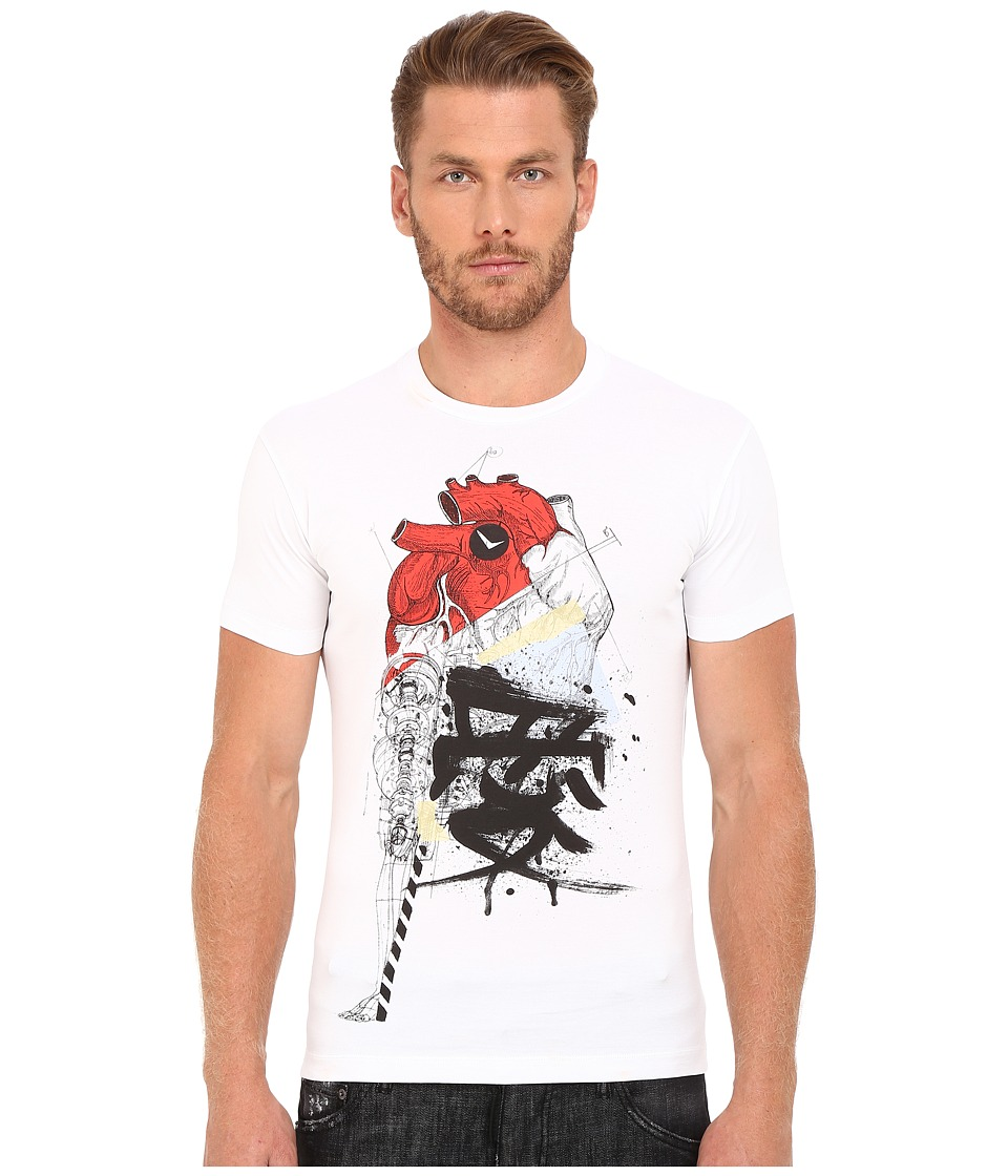 DSQUARED2 - Chic Dean Fit Samurai Heart Dan Shirt (White) Men's T Shirt