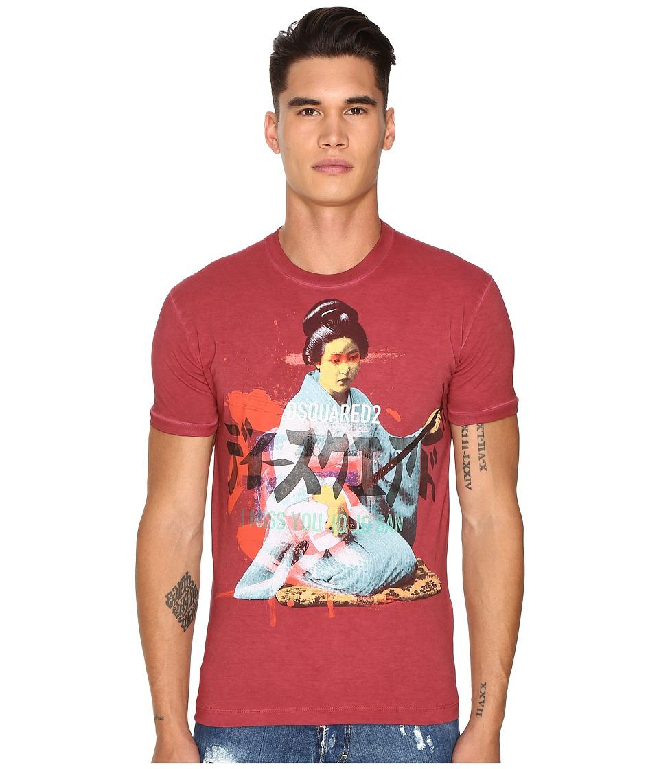 DSQUARED2 - Chic Dan Fit Punk Manga Gang T-Shirt (Red) Men's T Shirt