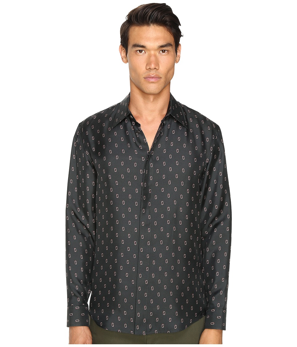 Marc Jacobs - Slim Fit Silk Twill Button Up (Pirate Black Combo) Men's Clothing
