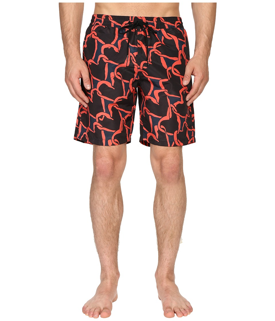 Paul Smith - Long Classic Swim Shorts (Red Multi) Men's Swimwear