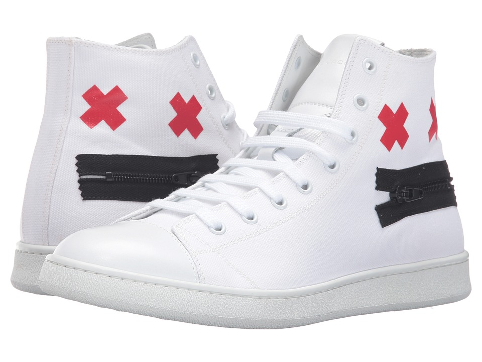 Marc Jacobs - Canvas Zip Face High Top (White) Men's Shoes
