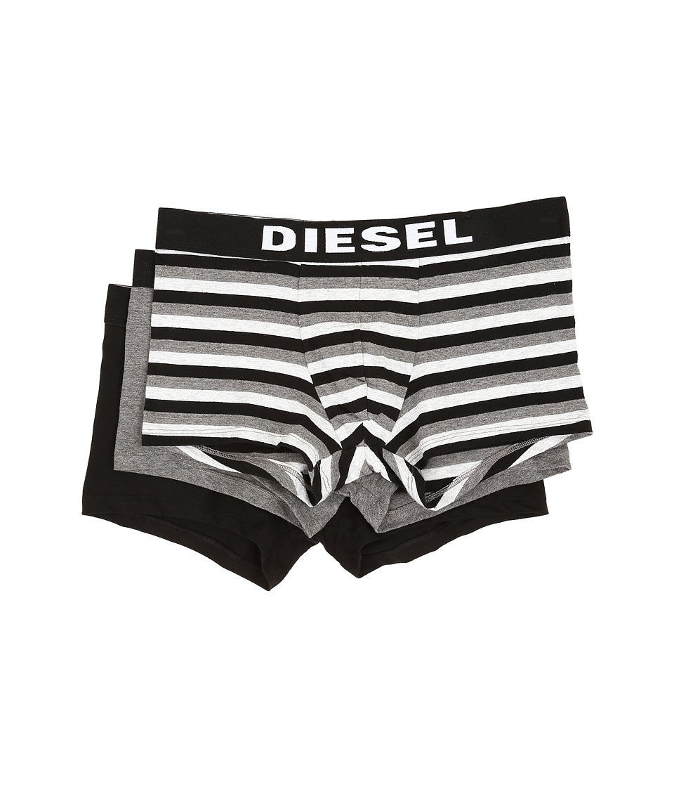 Diesel - Shawn 3-Pack Boxer Shorts BANH (Grey Stripe/Grey Solid/Black Solid) Men's Underwear