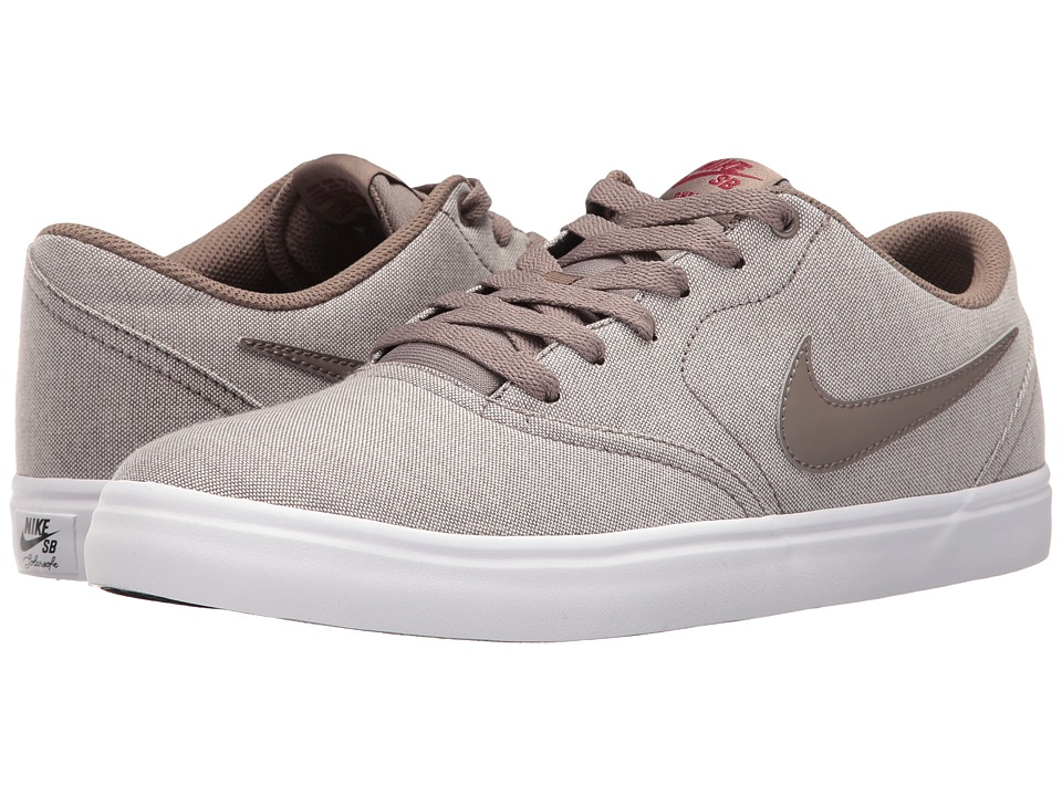 Nike SB - Check Solar Canvas Premium (Dark Mushroom/Team Red/Dark Mushroom) Men's Skate Shoes