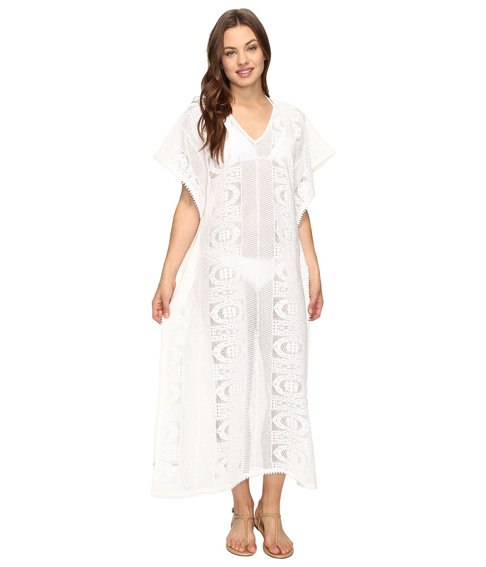 Seafolly - Floral Lace Maxi Kaftan Cover-Up (Milk) Women's Swimwear