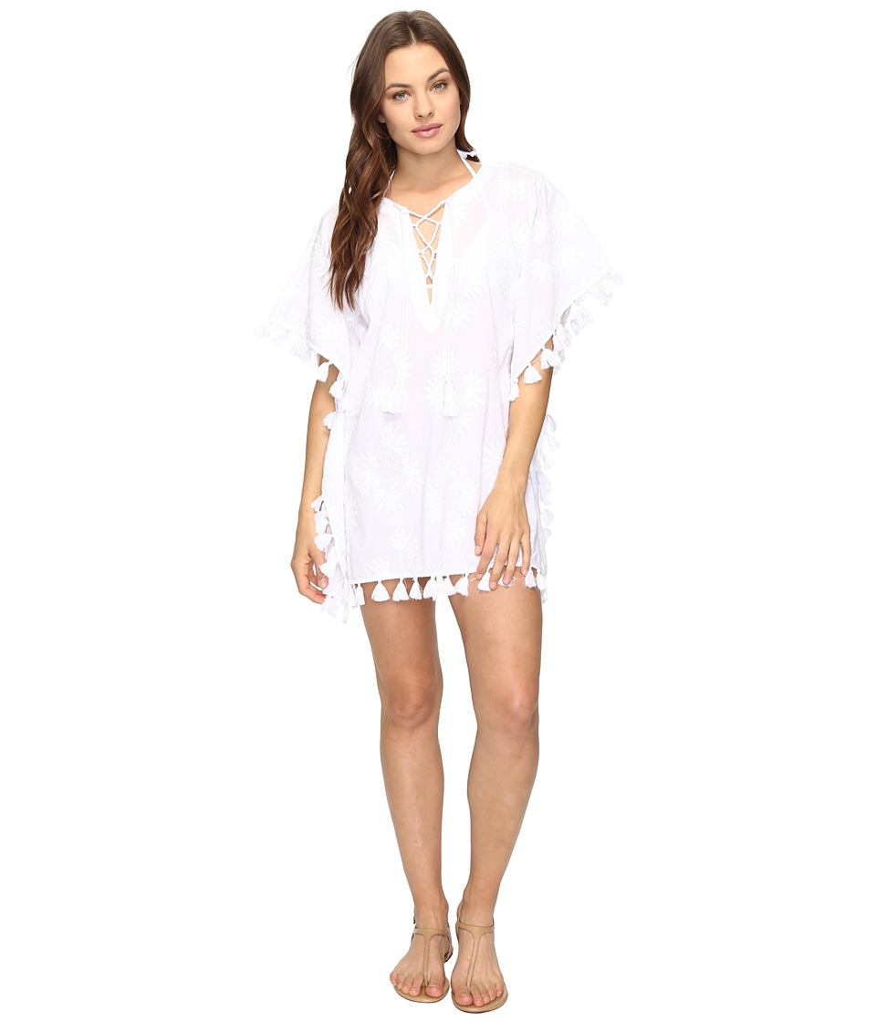 Seafolly - Embroidered Kaftan Cover-Up (White) Women's Swimwear