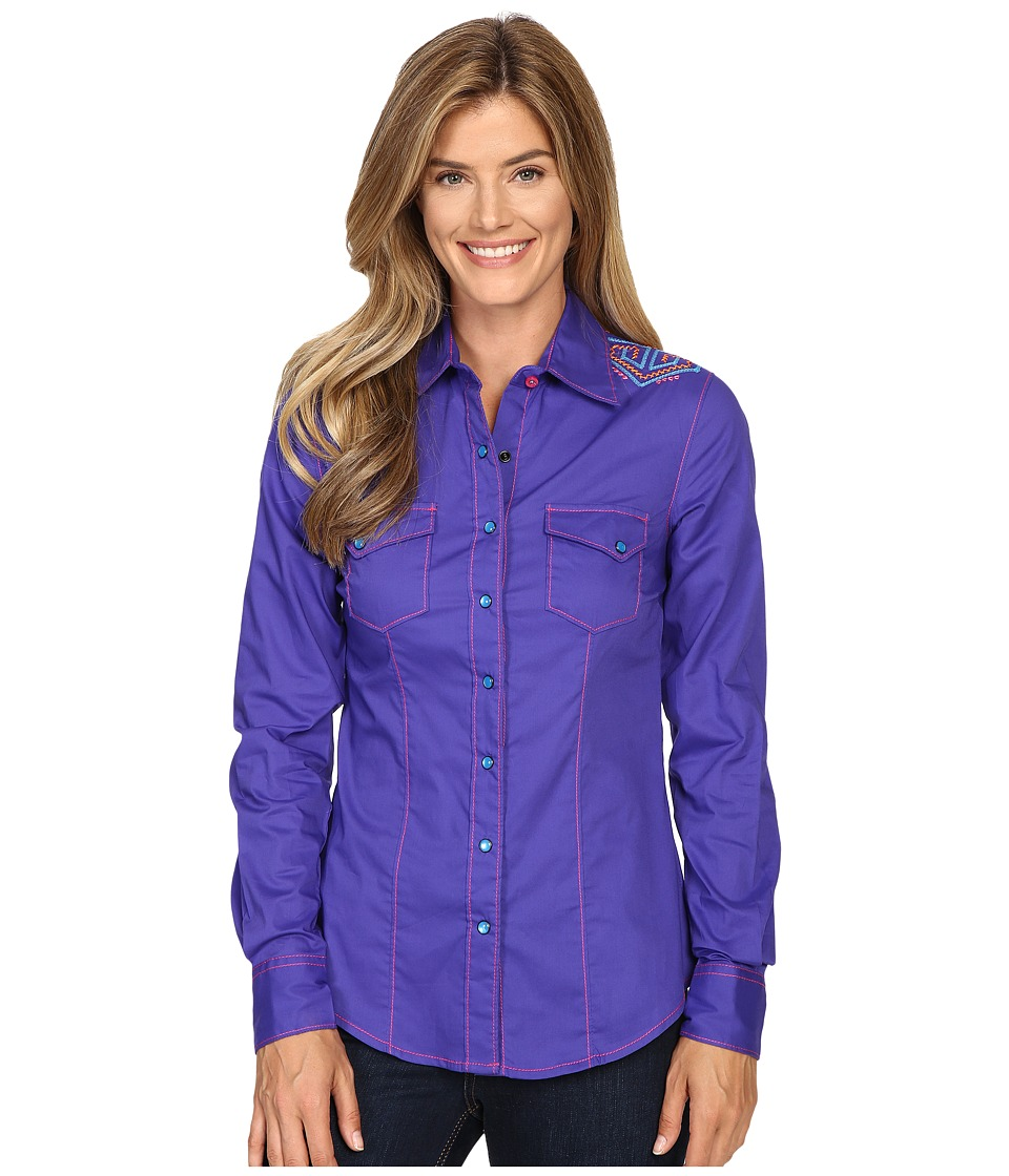 Cruel - Long Sleeve Arena Fit Plain Weave (Purple) Women's Clothing