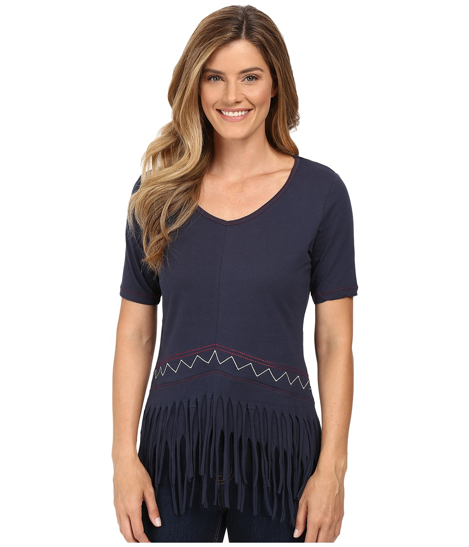 Cruel - Jersey Knit V-Neck with Fringe (Navy) Women's Clothing