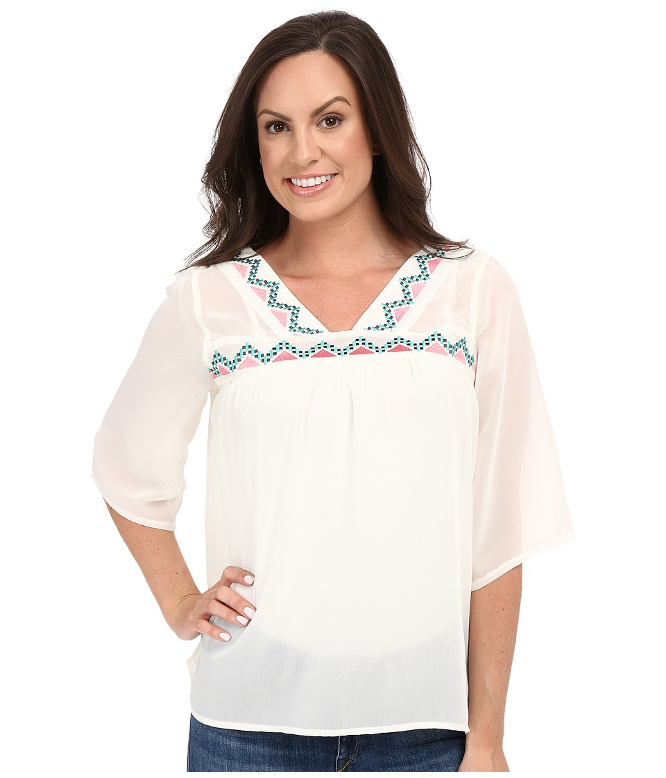 Cruel - Chiffon Peasant Top (Cream) Women's Clothing