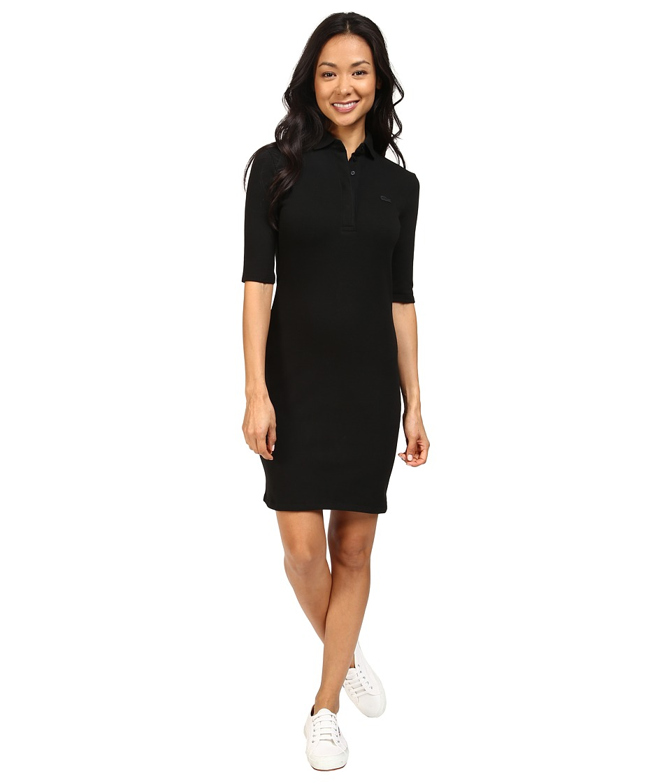 Lacoste - Half Sleeve Stretch Pique Polo Dress (Black) Women's Dress