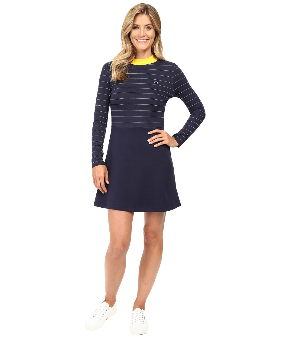Lacoste - L!ve Contrast Mock Neck Striped Fit and Flare Dress (Navy Blue/White-Star) Women's Dress