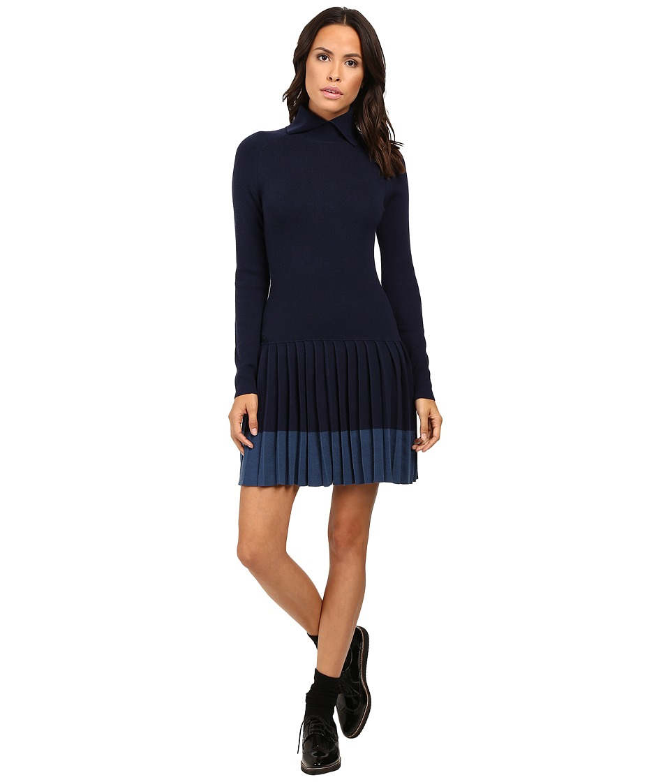 Lacoste - Long Sleeve Pleated Skirt Wool Collar Dress (Navy Blue) Women's Dress
