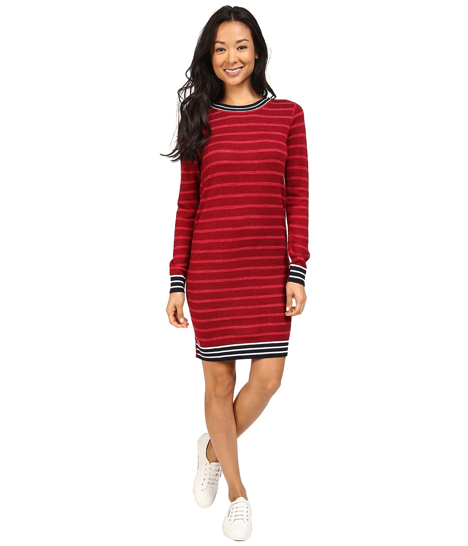 Lacoste - Long Sleeve Striped Double Face Wool Dress (Navy Blue/Flour-Tokyo Red) Women's Dress