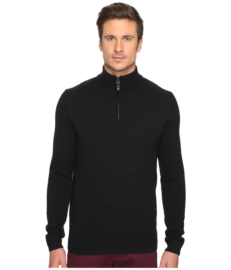 Ben Sherman - Long Sleeve Lambswool Half Zip Knit (True Black) Men's Long Sleeve Button Up