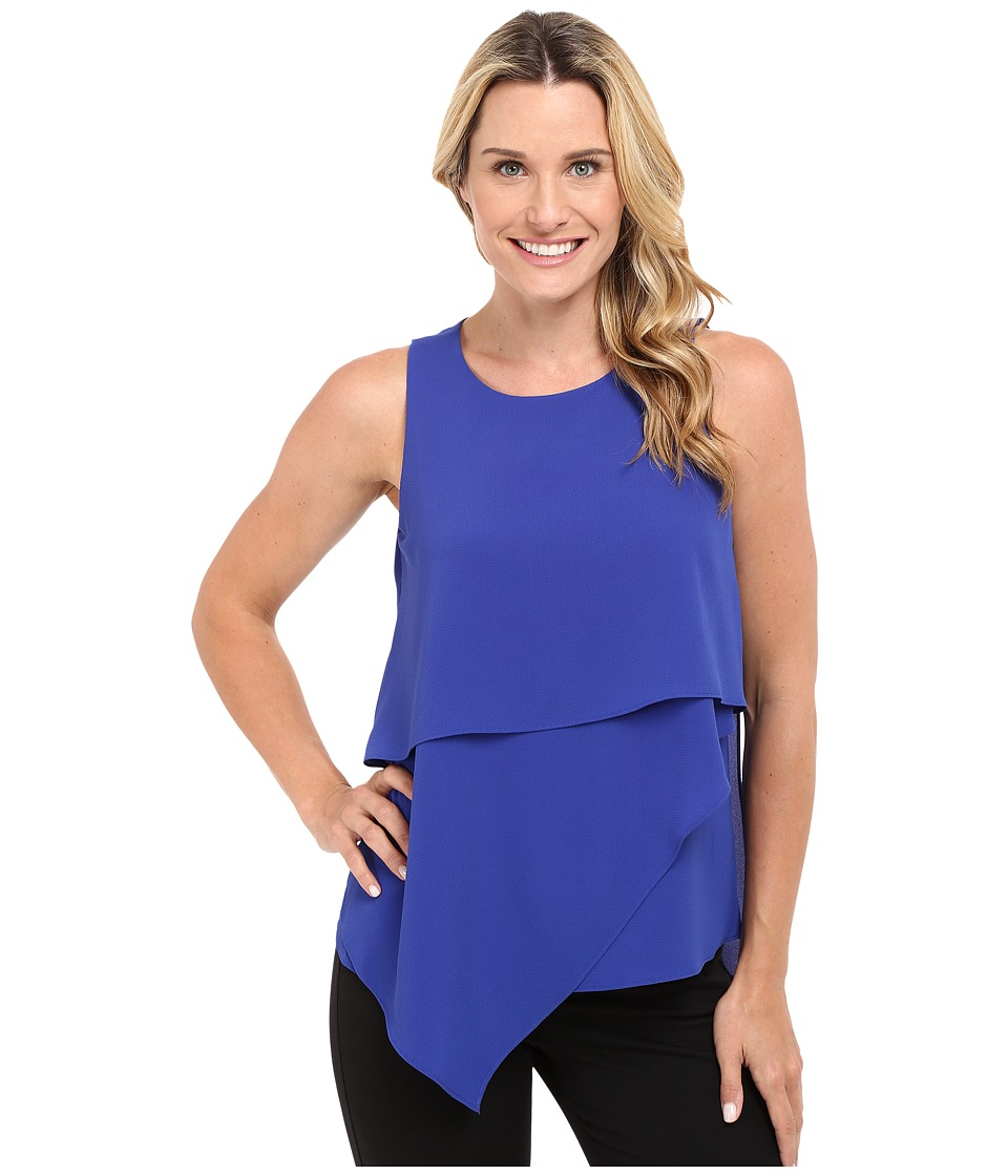 Vince Camuto - Sleeveless Asymmetrical Layered Blouse (Optic Blue) Women's Blouse