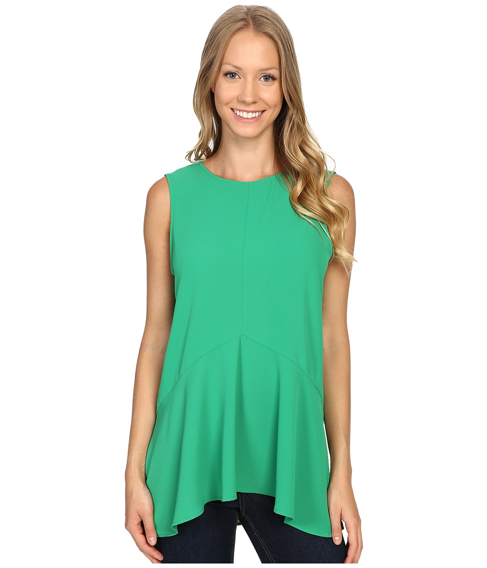 Vince Camuto - Sleeveless Paneled Ruffle Front Blouse with Slits (Green Pulse) Women's Blouse
