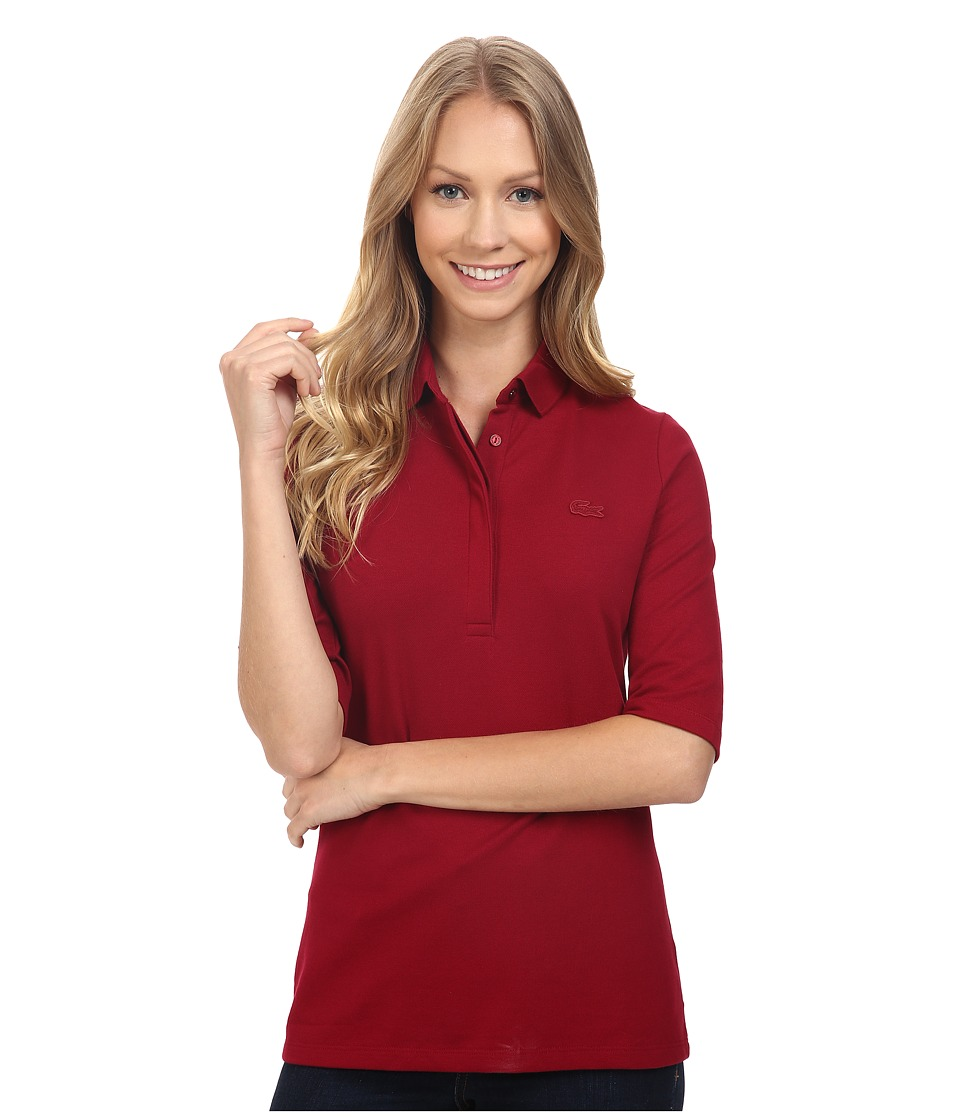 Lacoste - Half Sleeve Slim Fit Stretch Pique Polo Shirt (Bordeaux) Women's Short Sleeve Knit