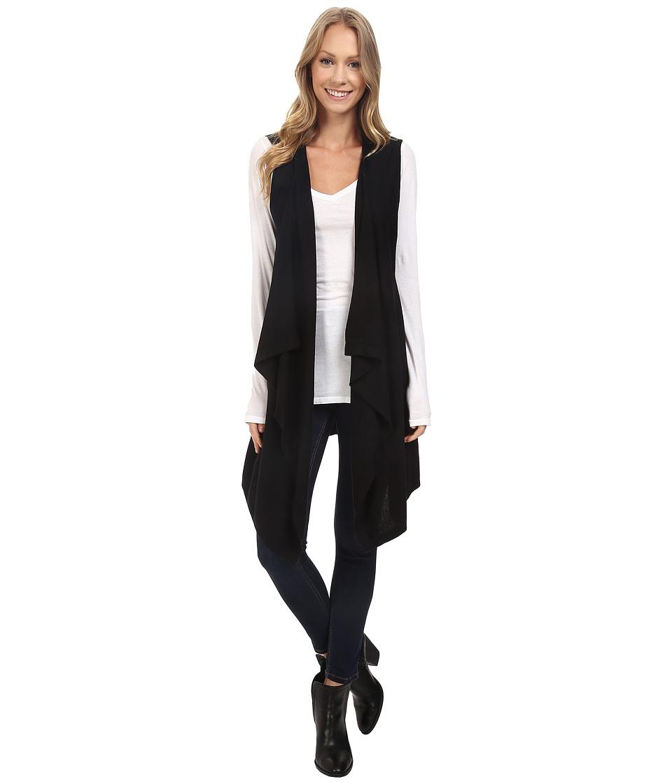 Vince Camuto - Sleeveless Drape Front Sweater Vest (Rich Black) Women's Vest
