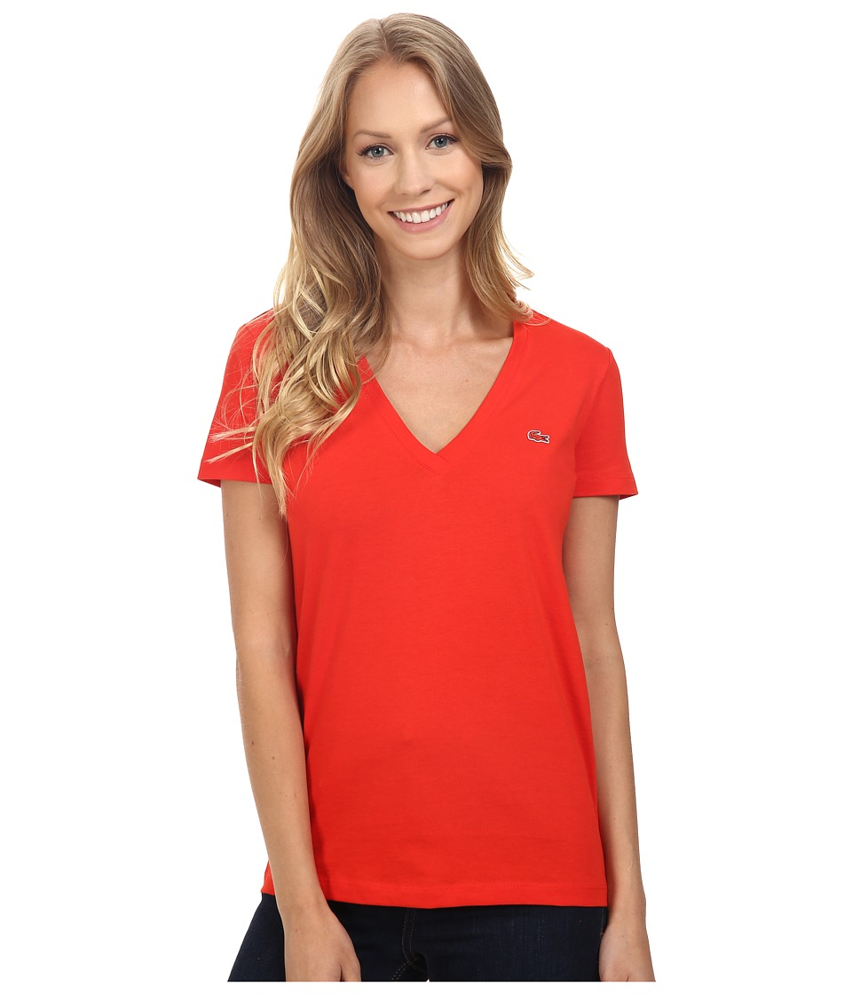 Lacoste - Short Sleeve Cotton Jersey V-Neck Tee Shirt (Regal Red) Women's Short Sleeve Pullover