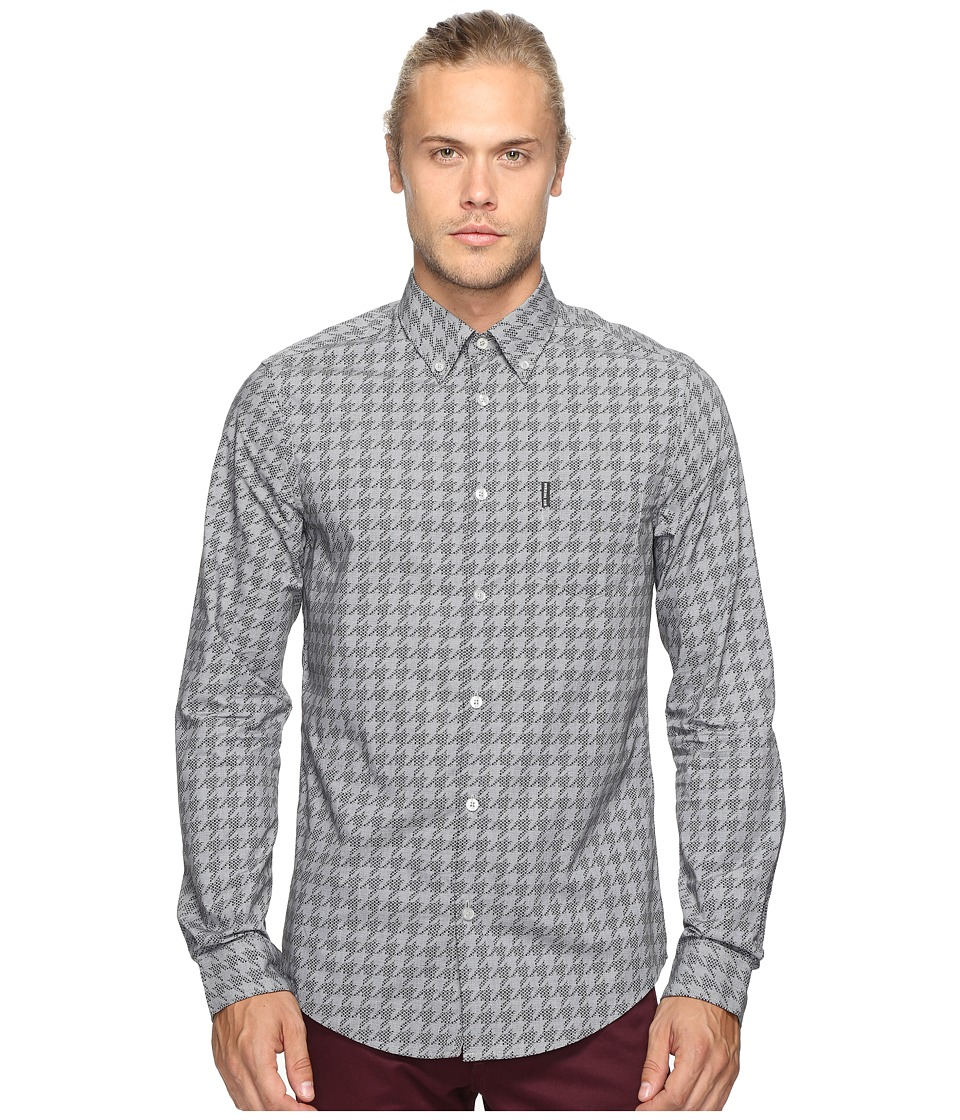 Ben Sherman - Long Sleeve Overprinted Dogtooth Woven (True Black) Men's Long Sleeve Pullover