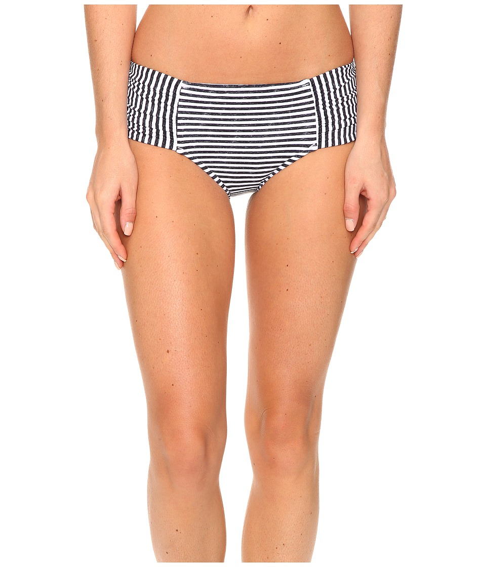 Seafolly - Riviera Stripe Ruched Side Retro Bottoms (Black Marle) Women's Swimwear
