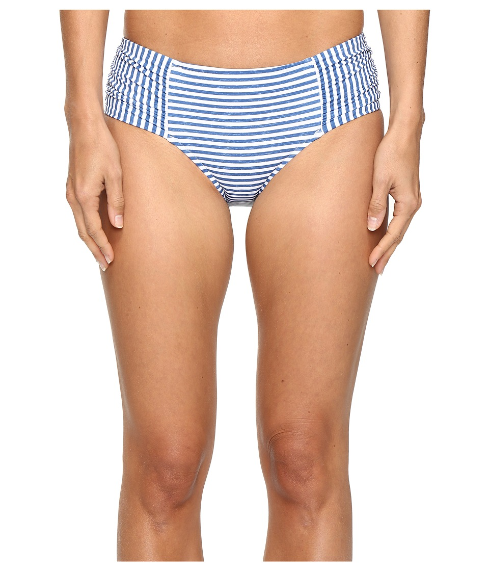 Seafolly - Riviera Stripe Ruched Side Retro Bottoms (French Blue Marle) Women's Swimwear